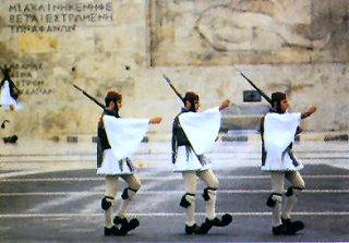Athens, Syntagma: the Evzones in front of the Parliament (Syntagma Square)