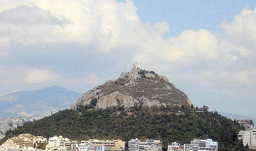 The Lycabettus Hill with the little church of St. George on the top