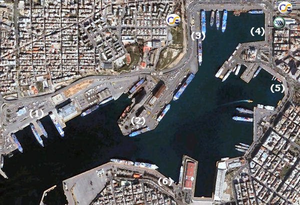 Map of the port of Piraeus indicating the ferries departure points.
