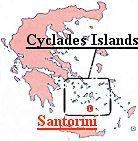 Click here to view a map of the greater area of the Cyclades Islands, including Santorini