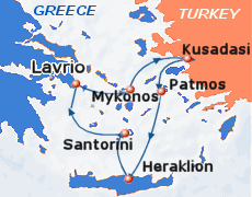 Small map of the 3-day Iconic Aegean cruise; click for bigger map & further info
