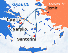 Small map of the 3-day Euphoric Aegean cruise; click for bigger map & further info
