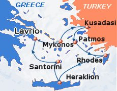 Small map of the 4-day Iconic Aegean cruise; click for bigger map & further info