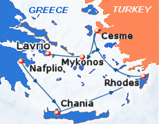 Small map of the 4-day Euphoric Aegean cruise; click for bigger map & further info