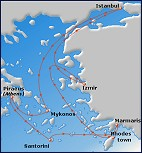 Small map of the 7-day Greek Isles and Turkey cruise; click for bigger map & further info