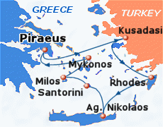 Small map of the 7-day Idyllic Aegean cruise; click for bigger map & further info