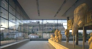 View of the Acropolis hill from inside the Acropolis Museum