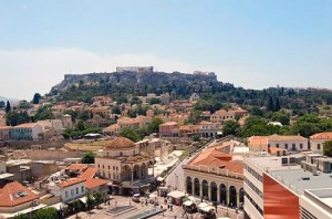 View of the Acropolis and Plaka