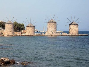 The windmills north of Chios Town