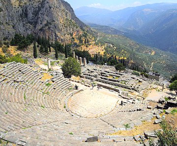 The ancient theatre at the archaeological site of Delphi