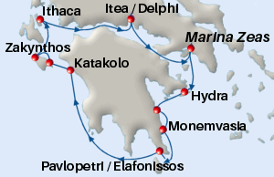 Small map of the 7-day Ancient Paths cruise; click for bigger map & further info