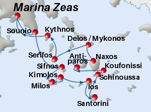 Map of the Divine Cyclades cruise from Athens to the Greek islands