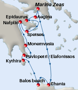 Small map of the 7-day Grecian Trails cruise; click for bigger map & further info