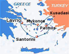 Small map of the 3-day Iconic Discovery cruise; click for bigger map & further info