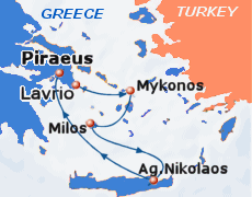 Small map of the 3-day Idyllic Aegean cruise; click for bigger map & further info