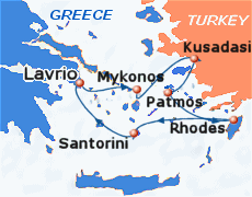 Small map of the 4-day Iconic Discovery cruise; click for bigger map & further info