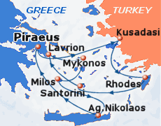 Small map of the 7-day Idyllic Aegean cruise<br>(May – August); click for bigger map & further info