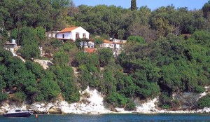 The Nassos House at Longos and the small beach below it.