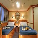 Twin cabin of cat. 'A' on the 'Panorama II' cruise ship