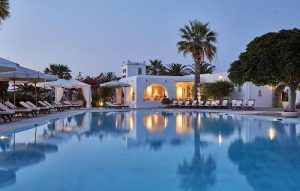 The pool area of the Yria hotel in Paros