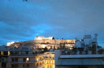 View of Acropolis from the Philippos hotel in Athens