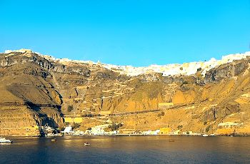 The Caldera and the town of Fira on the island of Santorini as viewed from the cruise ship