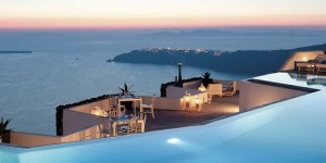 Sunset at the Santorini Grace hotel