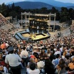 The theatre of Ancient Epidaurus during a performance