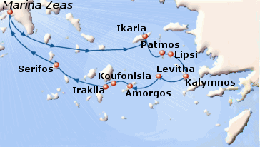 Small map of the 7-day Unexplored Greek Islands cruise; click for bigger map & further info